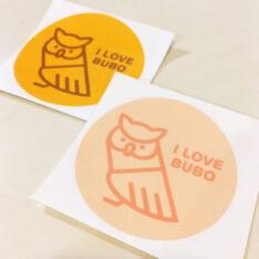 I LOVE BUBOステッカー(パステルオレンジorオレンジ)