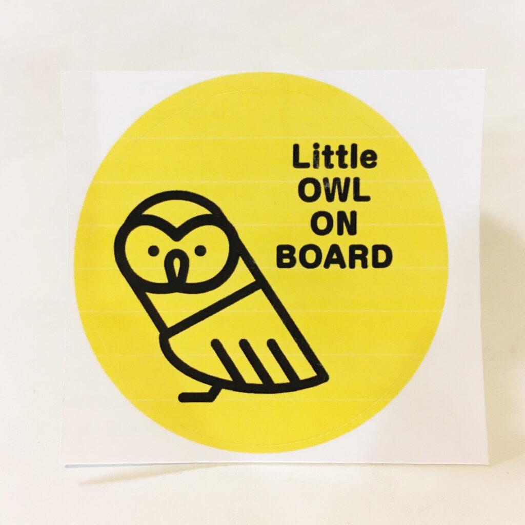 Little OWL ON BOARDステッカー(小型フクロウ)