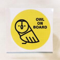 OWL ON BOARDステッカー(メンフクロウ)